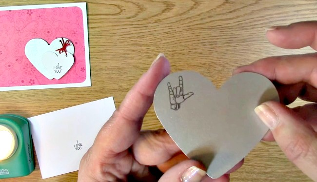 Sign Language Sentiments 2 stamp set I Love You Card e