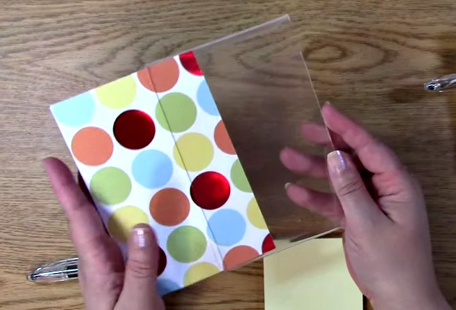 slide decorative paper inside photo frame
