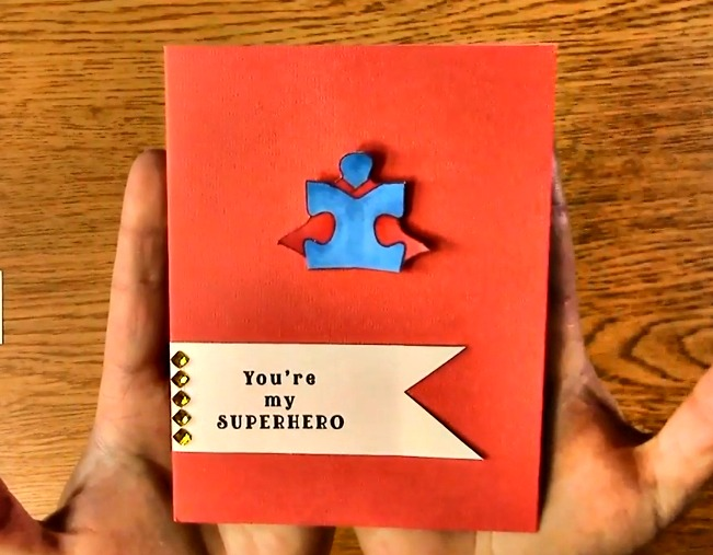 Autism Superhero Card including Customized Rhinestones c